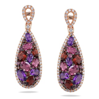 Miadora 14k Rose Gold Multi-gemstone 1/4ct TDW Diamond Drop Earrings (G-H, I1-I2)