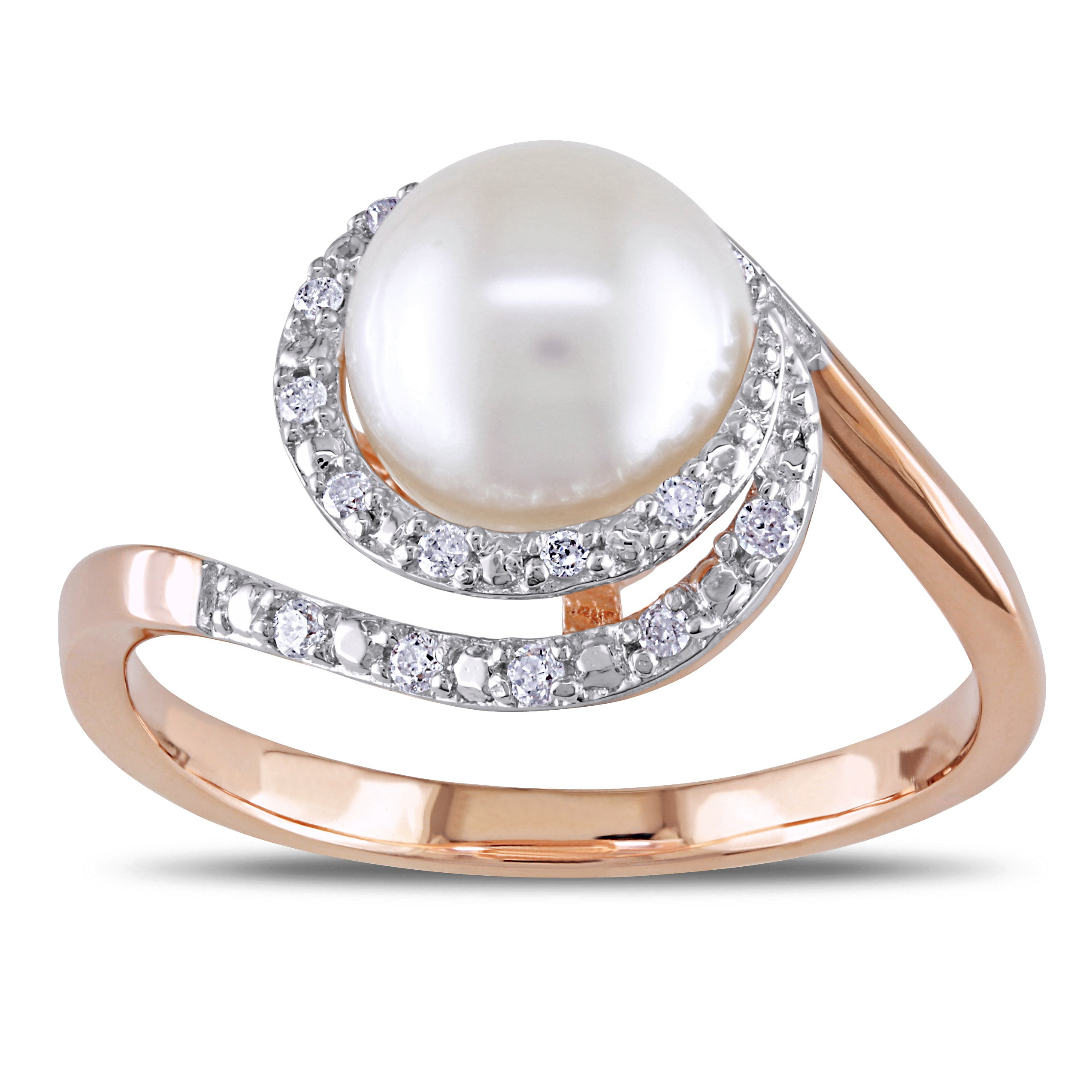 Miadora 10k Rose Gold Pearl and 1/10ct TDW Diamond Ring (H-I, I2-I3) (8-8.5 mm)