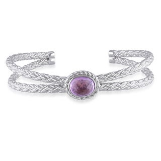 Miadora Sterling Silver Amethyst Bangle Bracelet