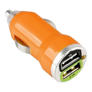 BasAcc Orange Universal 2-Port USB Mini Car Charger Adapter