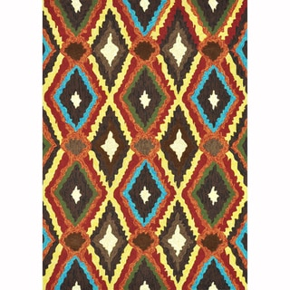 Indoor/ Outdoor Hand-hooked Portia Brown Rug (9'3 x 13')