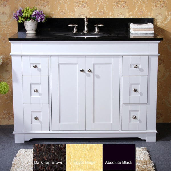 white finish natural granite top 48 inch single sink bathroom vanity