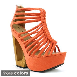 Mark & Maddux Women's 'Jack-05' Strappy Cage Cut-out Wedges