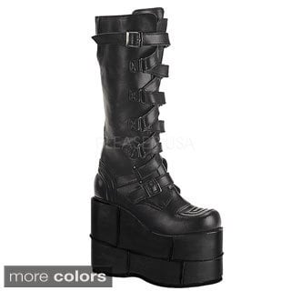 Demonia Men's 'Stack-308' Black Thick Platform Knee-high Boots