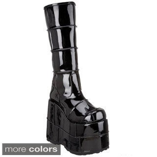 Demonia Men's 'Stack-301' Thick Patched Platform Knee High Boots