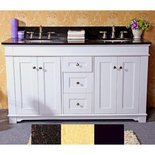 Natural Granite Top 60-inch Double Sink Bathroom Vanity in White Finish