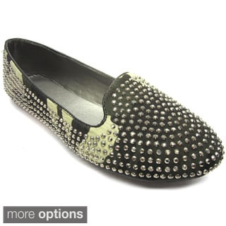 Blue Women's All-over Studded Flats