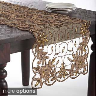 Hand Beaded Design Table Topper or Table Runner
