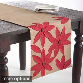 Flower Design Jute Table Runner