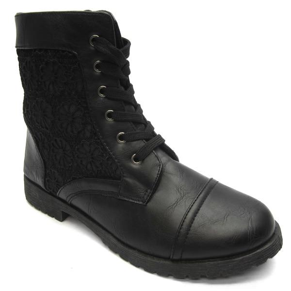 Blue Women's Black Fabric Panel Combat Boots