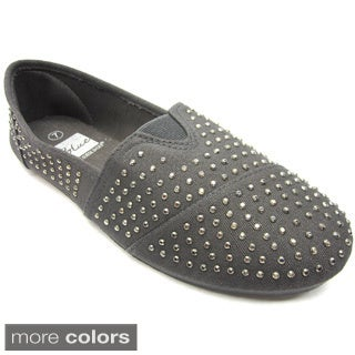 Blue Women's All-over Studded Canvas Flats