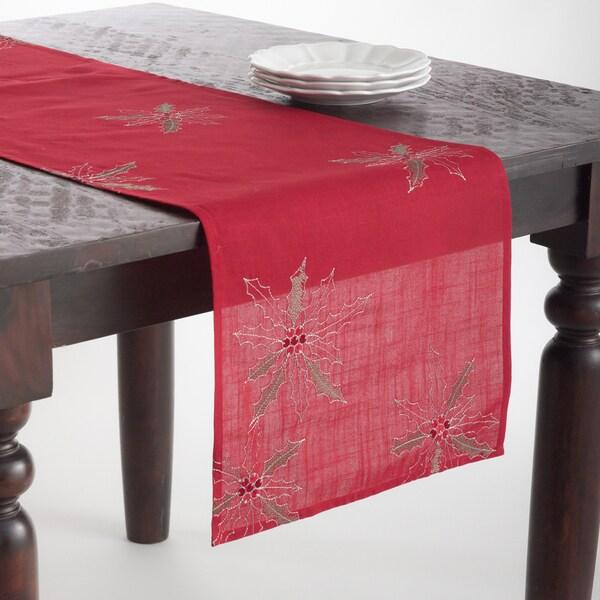 Poinsettia Design Table Topper or Table Runner