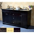 Natural Granite Top 60-inch Double Sink Bathroom Vanity in Espresso Finish