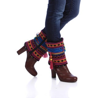Muk Luks Women's Guatemalan Beaded Zip-up Boot Sweaters with Bonus Knee Socks
