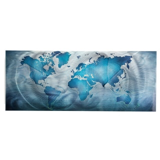 Land & Sea' Modern World Map Metal Wall Art