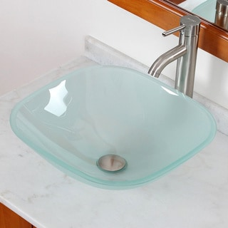 Elite Frosted Square Tempered Glass Bathroom Sink/ Faucet Combo