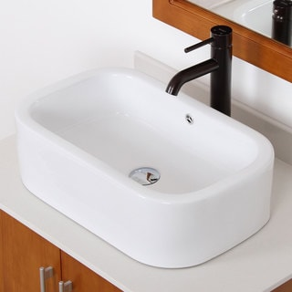 Elite High Temperature Grade A Ceramic Bathroom Sink With Oval Design and Oil Rubbed Bronze Finish Faucet Combo