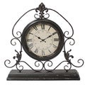 Versailles Scroll Art 23-inch Wide Weathered Metal Tabletop Mantel Clock