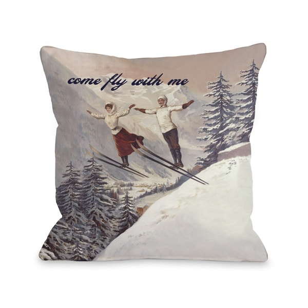 Come Fly With Me Vintage Ski Throw Pillow 15734217