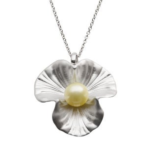 Sterling Silver Golden South Sea Pearl Floral Necklace (9-10 mm)