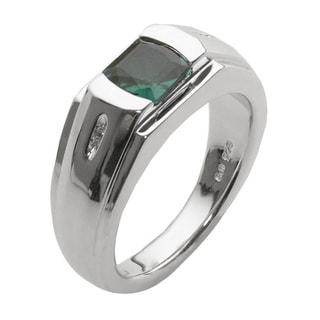 Sterling Silver Men's Created Emerald and Diamond Accent Ring (Size 11.5)
