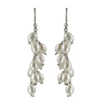 Sterling Silver White Freshwater Pearl Drop Earrings (4-5 mm)