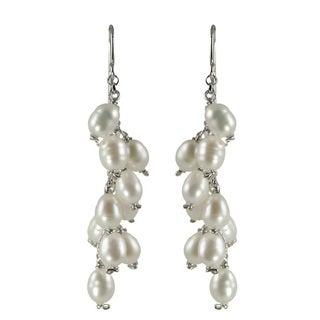 Sterling Silver White Freshwater Pearl Drop Earrings (4-5 mm)