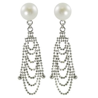 Sterling Silver White Freshwater Button Pearl Cascade Earrings (8-9 mm)