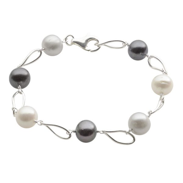 Sterling Silver Dyed Freshwater Pearl Station Bracelet (8-9 mm)