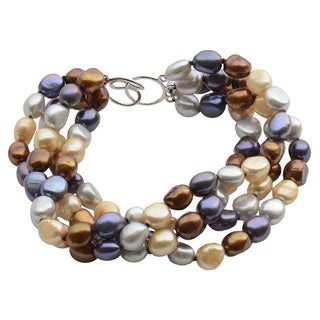 Sterling Silver Dyed Chocolate, Black, Grey and Champagne Baroque Freshwater Pearl 4-strand Bracelet (7-8 mm)