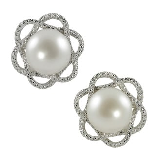 Sterling Silver White Freshwater Button Pearl and Diamond Stud Earrings (H-I, I1-I2) (9-10 mm)