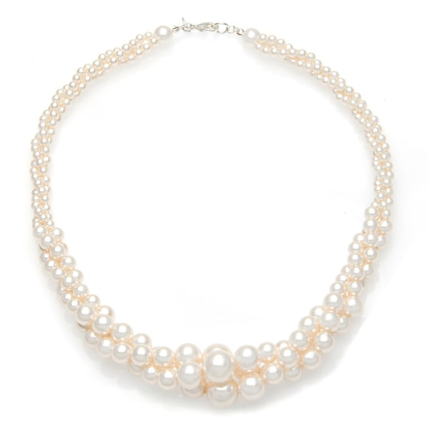 Roman Faux Cream Pearl Twist Silvertone 18-inch Necklace