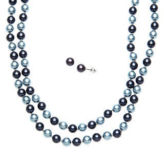 Roman Faux Blue Pearl 60-inch Strand Necklace and Earring Set