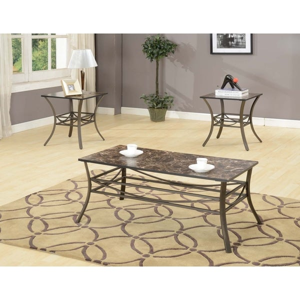 Coffee Table 2 End Tables 3 Piece Table Set Faux Marble Top Metal