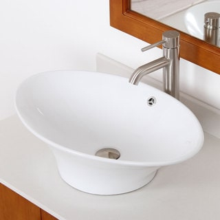 ELITE 4110F371023BN Oval Design Ceramic Bathroom Sink and Brushed Nickel Finish Faucet Combo
