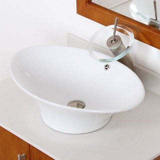 ELITE 4110F22TBN High Temperature Grade A Ceramic Bathroom Sink Waterfall Faucet Combo