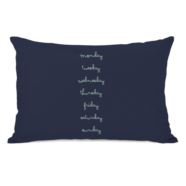 Days of the Week Navy Throw Pillow