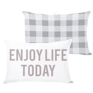 Enjoy Life Today Block Letter Gingham Throw Pillow