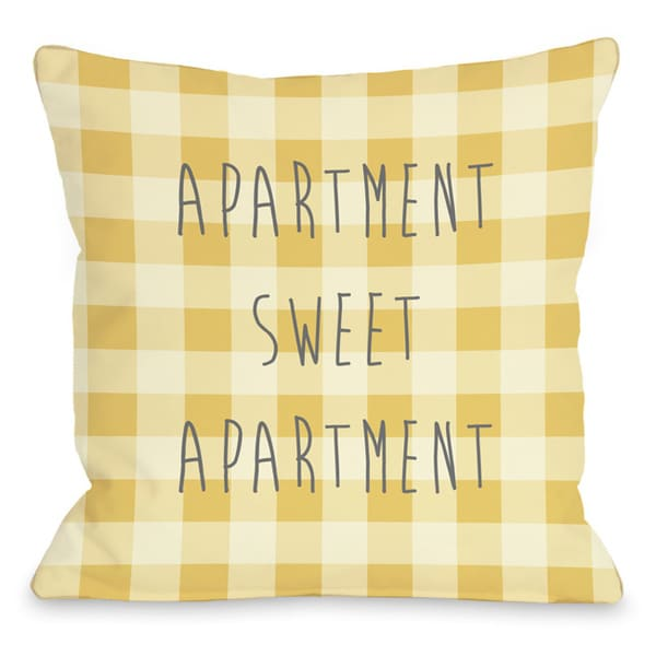 Apartment Sweet Apartment Gingham Throw Pillow