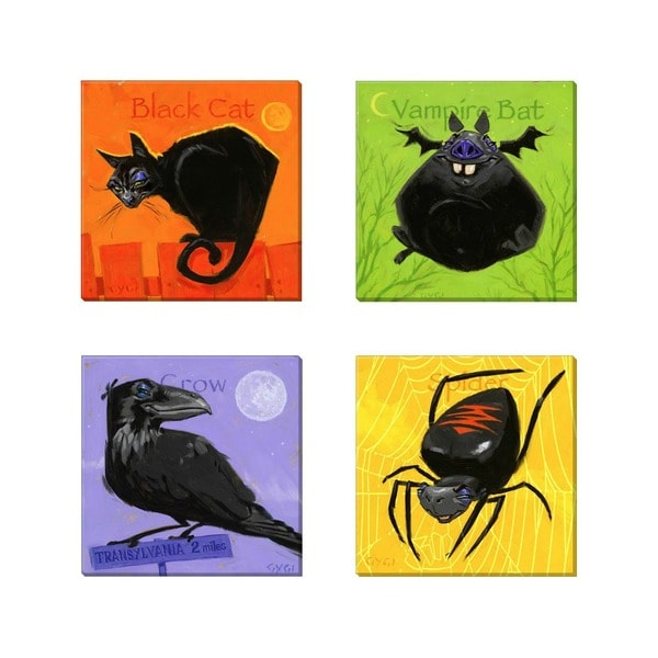 Amberton Publishing Canvas Halloween 4-piece Critters Set