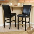 Christopher Knight Home Louigi Black Leather Bar Stool (Set of 2)