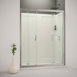 DreamLine Butterfly Bi-Fold Shower Door, Shower Base and Backwall Kit