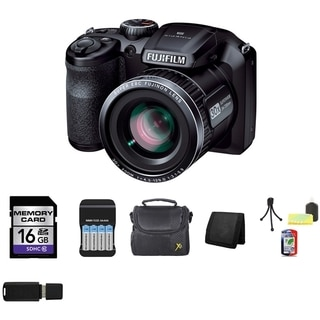 FujiFilm FinePix S4800 16MP Black Digital Camera 16GB Bundle