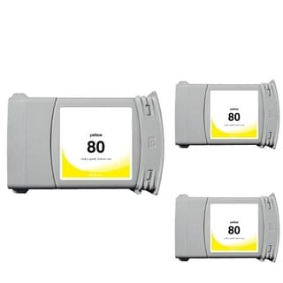 INSTEN HP 80 Yellow Ink Cartridge (Remanufactured) (Pack of 3)