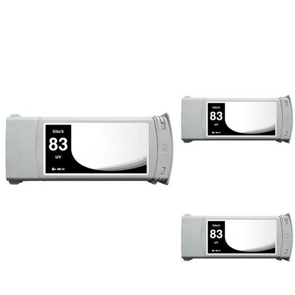 INSTEN HP Designjet 5000/ 5500 Black Pigment Ink Cartridge (Remanufactured) (Pack of 3)