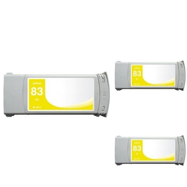 INSTEN HP 83 Yellow Ink Cartridge (Remanufactured) (Pack of 3)