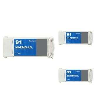 INSTEN HP 91 Light Grey Ink Cartridge (Remanufactured) (Pack of 3)