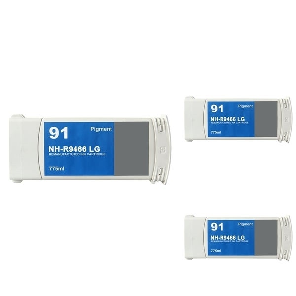 INSTEN HP 91 Light Grey Ink Cartridge (Remanufactured) (Pack of 3)