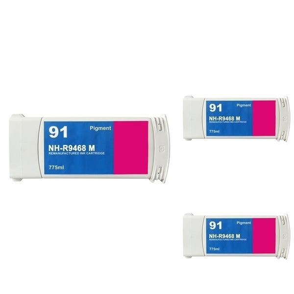 INSTEN HP 91 Magenta Ink Cartridge (Remanufactured) (Pack of 3)