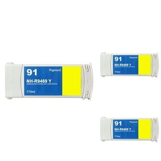 INSTEN HP 91 Yellow Ink Cartridge (Remanufactured) (Pack of 3)